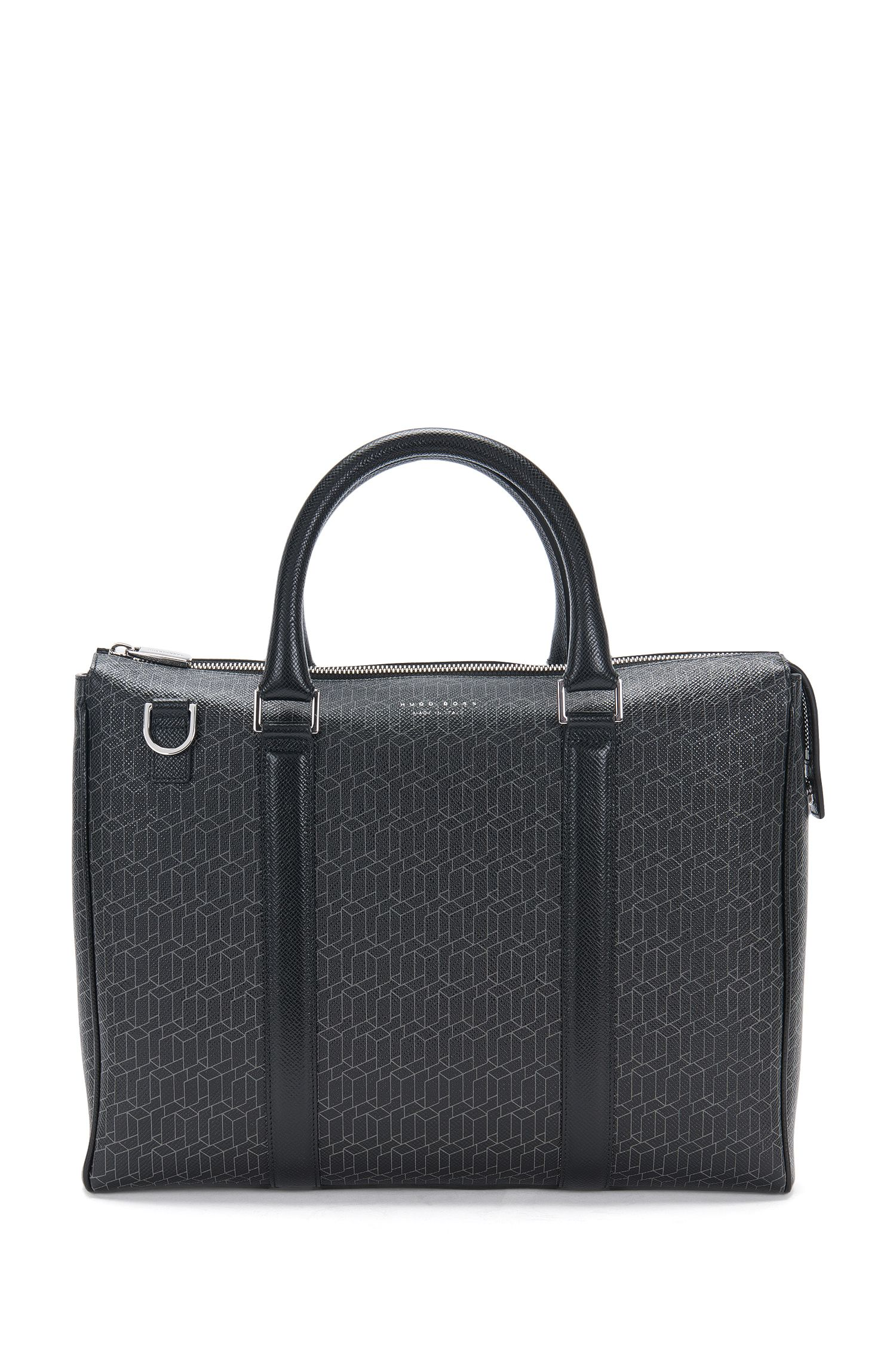 Leather business bag with geometric print: 'Signature H_S doc'