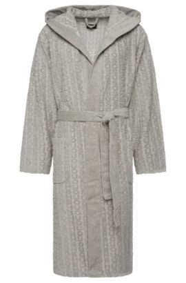 Mottled bathrobe in cotton blend with all-over embossing: 'Hooded Robe', Grey