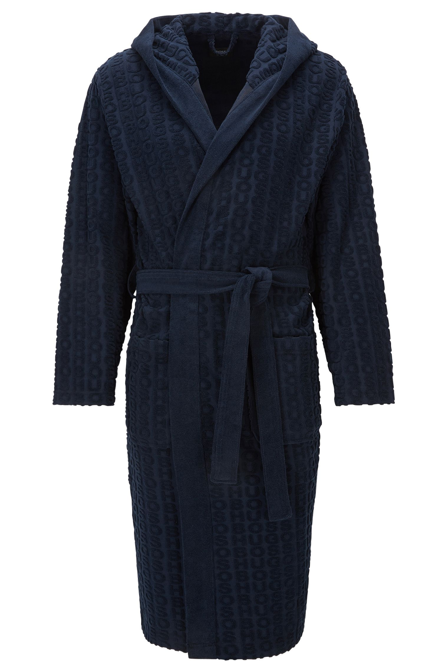 Hooded dressing gown in cotton-blend terry