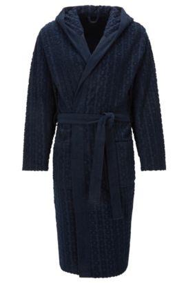 Batín con capucha en felpa con mezcla de algodón, Azul oscuro