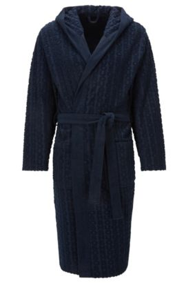 Hooded dressing gown in cotton-blend terry, Dark Blue