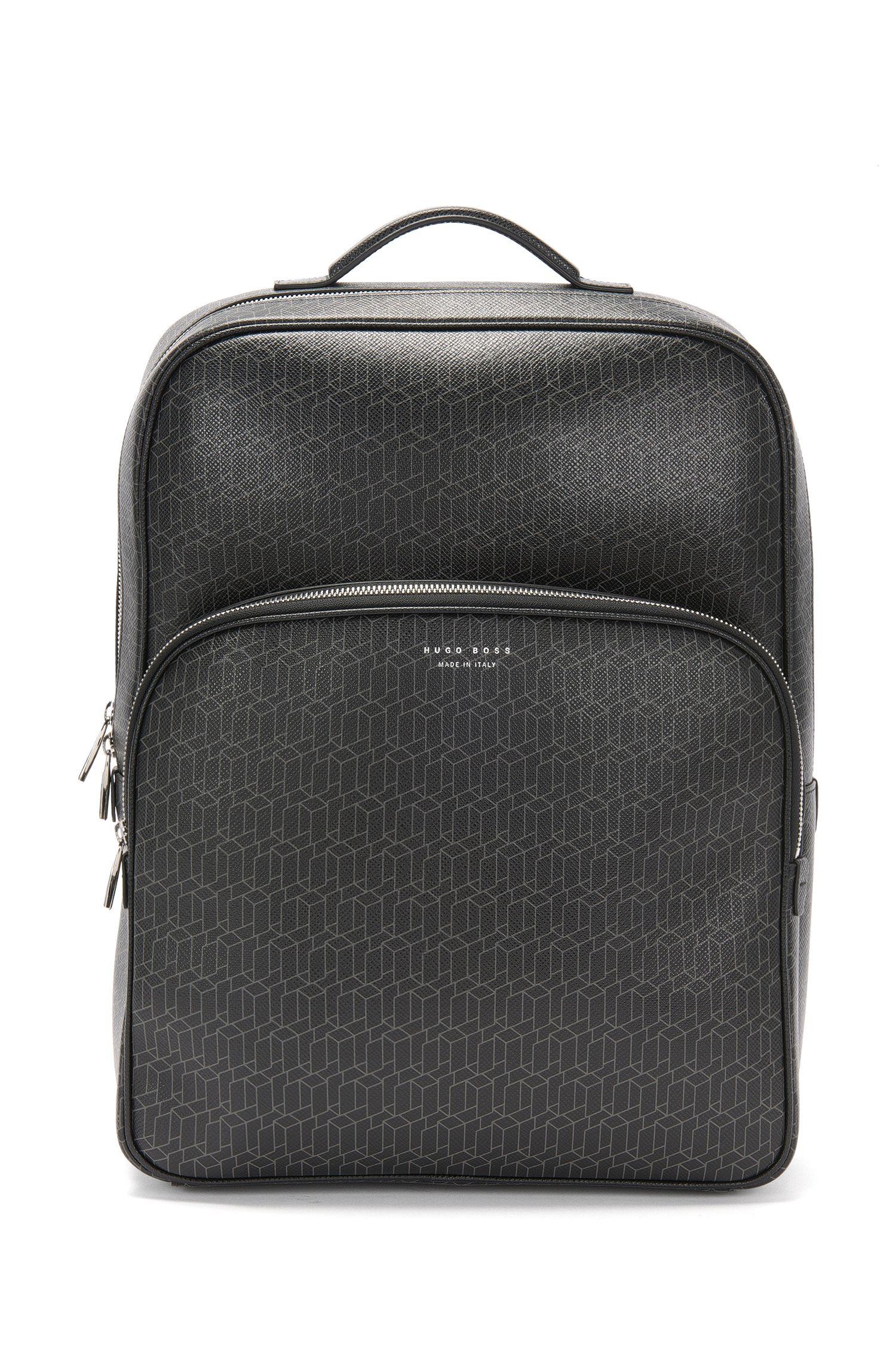 Rucksack aus Leder mit Allover-Muster: 'Signature H_Backpack'