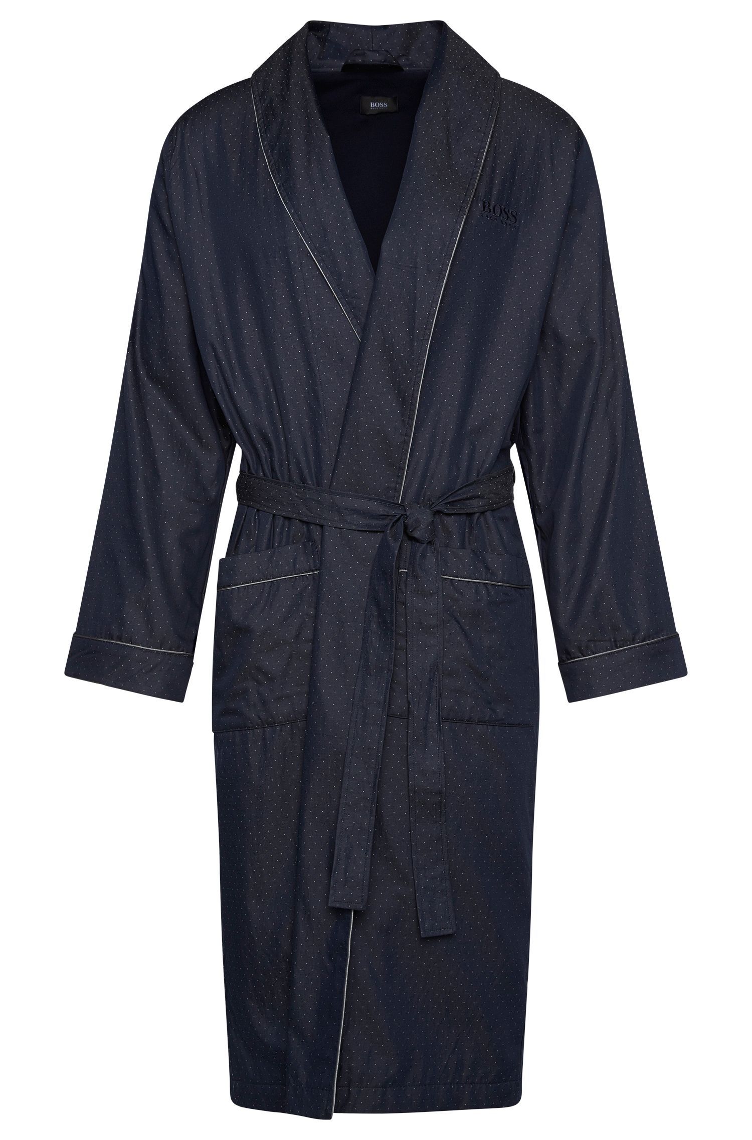 Patterned dressing gown in cotton: 'Shawl Collar Robe'