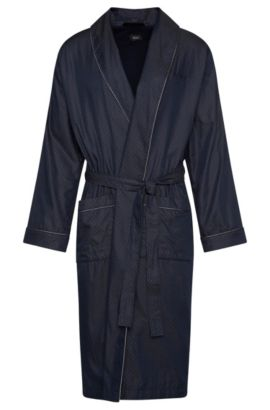 Patterned dressing gown in cotton: 'Shawl Collar Robe', Dark Blue