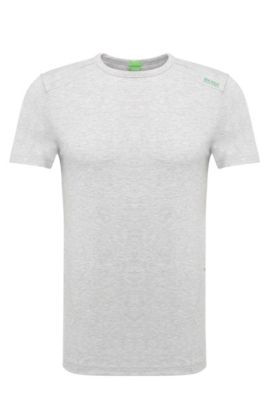 Slim-fit print T-shirt in stretch cotton blend: 'Teenox', Light Grey