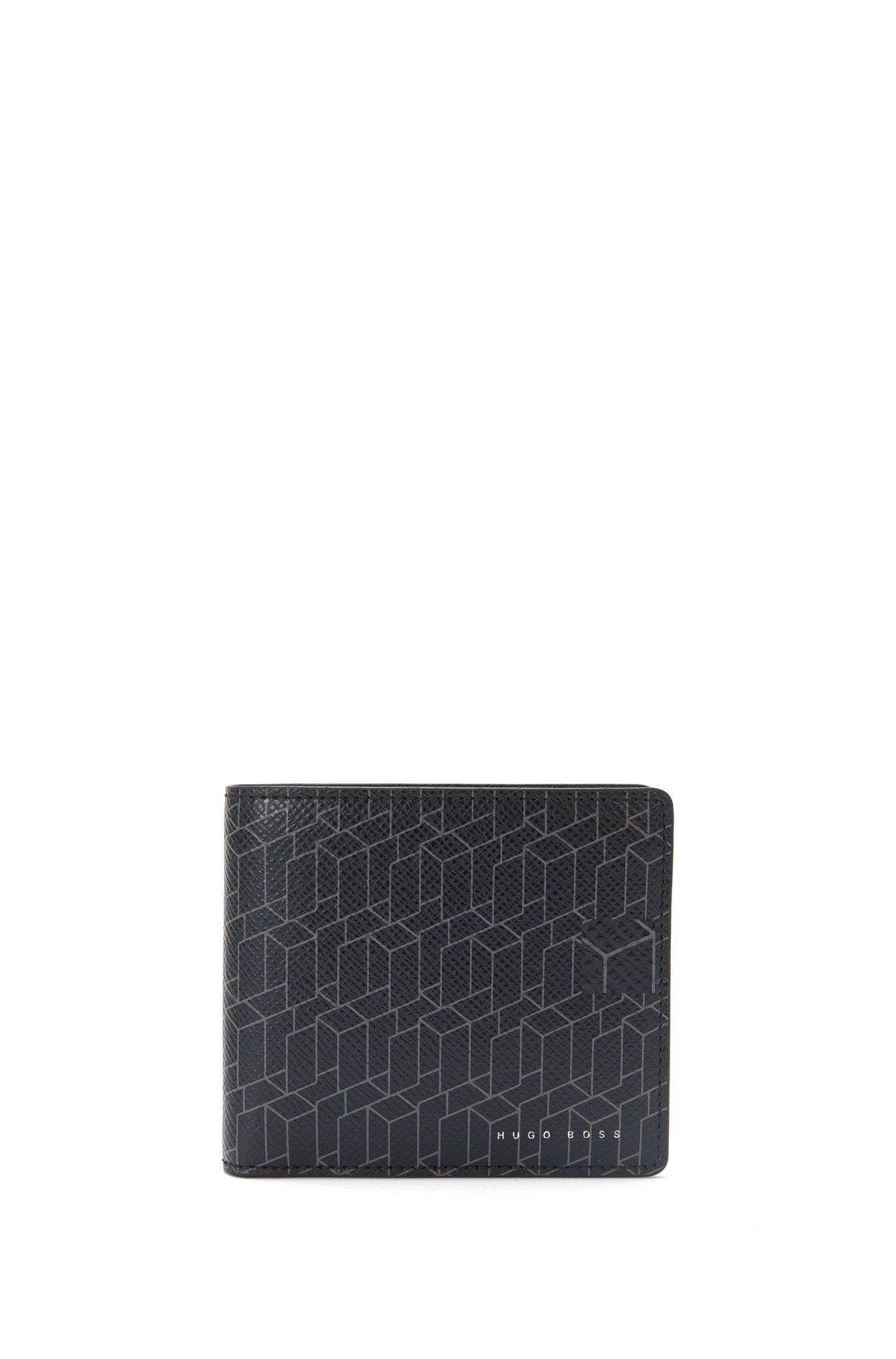 Geldbörse aus Leder mit geometrischem Print: 'Signature H_8 cc'