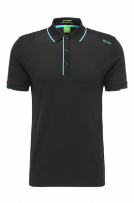 Slim-fit functional polo shirt in stretchy cotton blend: 'Paule 1', Black