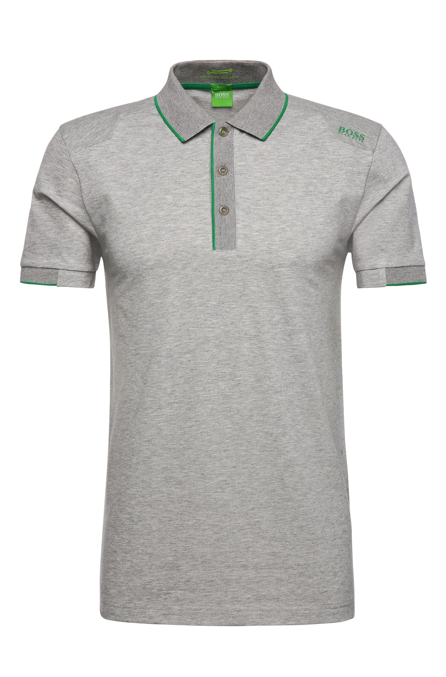 Slim-fit functional polo shirt in stretchy cotton blend: 'Paule 1'