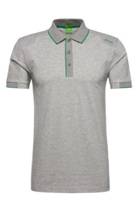 Slim-fit functional polo shirt in stretchy cotton blend: 'Paule 1', Light Grey