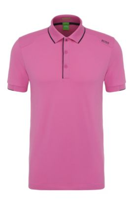 Slim-fit functional polo shirt in stretchy cotton blend: 'Paule 1', Open Purple