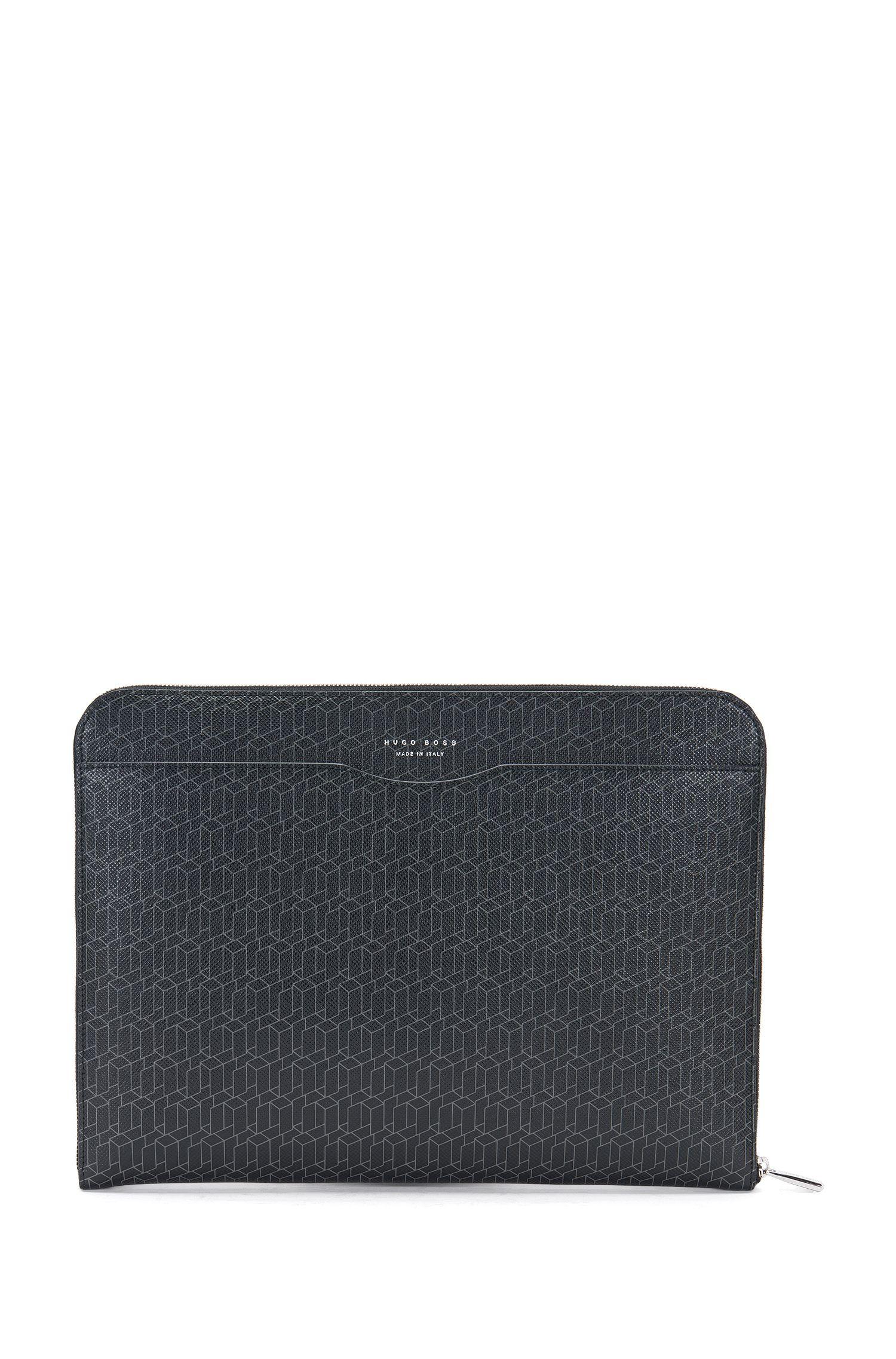 Custodia per laptop in pelle con stampa geometrica: 'Signature H_portf'