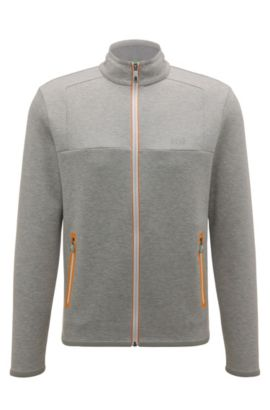 Regular-fit sweatshirt jacket in a cotton blend: 'Sendri', Light Grey