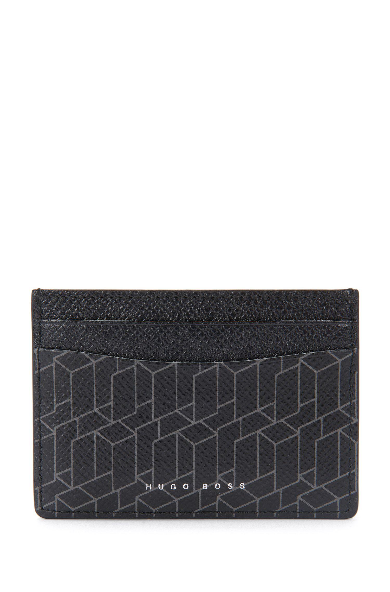 Kartenetui aus Leder mit geometrischem Print: 'Signature H_S card'