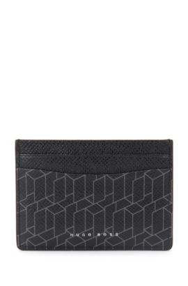 Leather card case with geometric print: 'Signature H_S card', Patterned