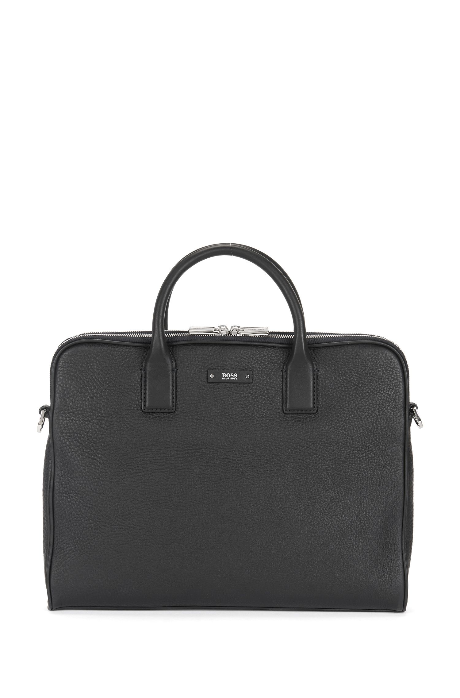 Compact workbag in grained Italian leather