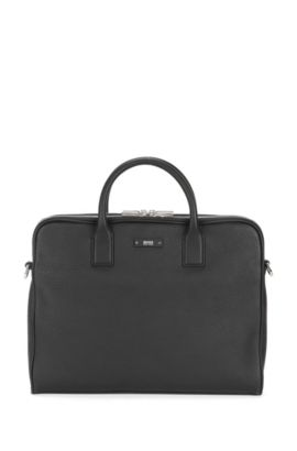 Compact workbag in grained Italian leather, Black