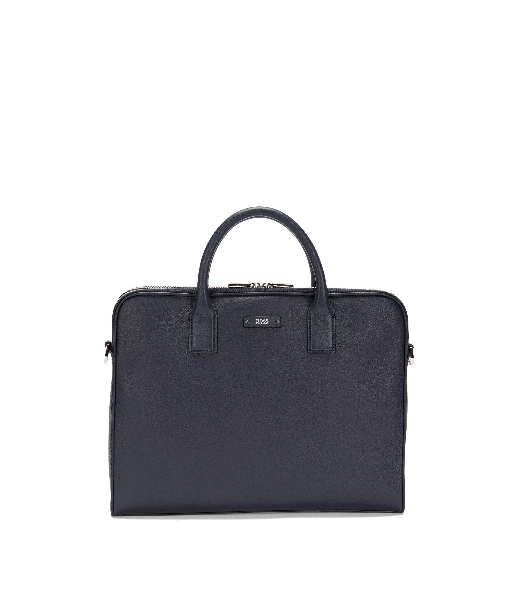 Compacte workbag van generfd Italiaans leer, Donkerblauw