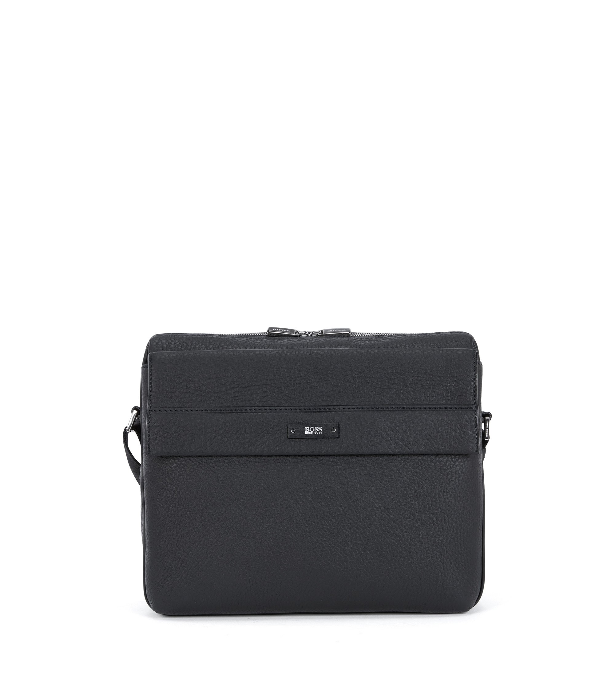 Reporter bag in grained Italian leather, Black