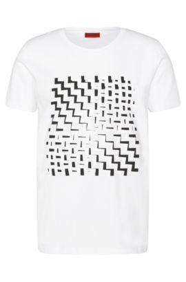 Loose-fit T-shirt van katoen met gegommeerde print: 'Dorved', Wit