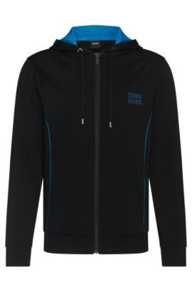 Sweatshirt-Jacke aus Baumwolle mit Kapuze: 'Jacket Hooded', Schwarz