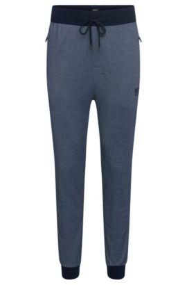 Pantaloni felpati in misto cotone con bordi di colori contrastanti: 'Long Pant Cuffs', Celeste