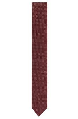 Cravatta in misto seta finemente strutturata con cotone: 'Tie 6 cm', Rosso scuro