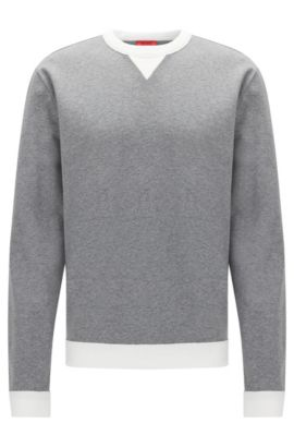 Relaxed-fit sweatshirt in cotton: 'Dexcalibur', Grey