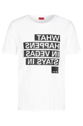 Bedrucktes Loose-Fit T-Shirt aus Baumwolle: 'Devent', Weiß