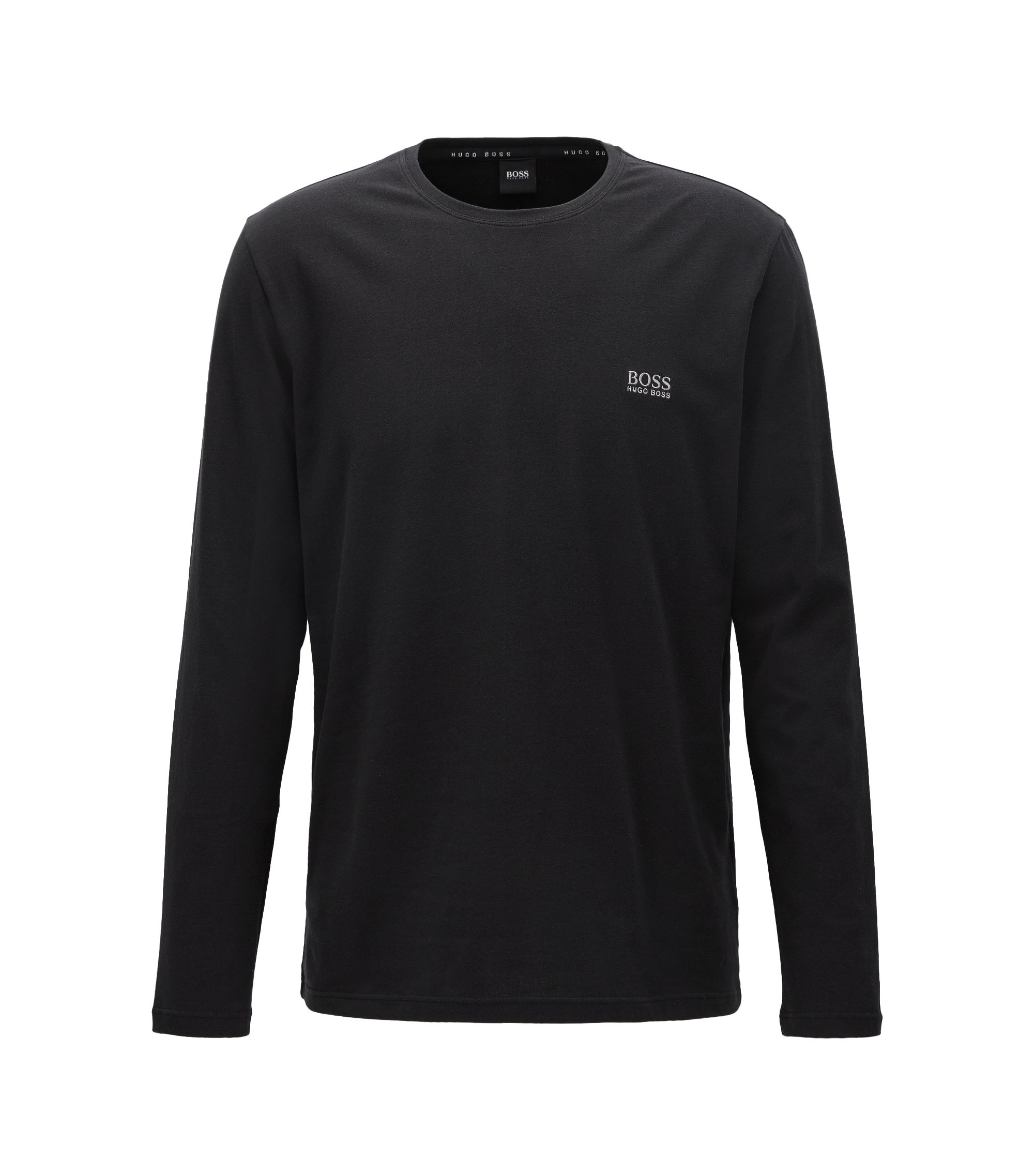 Long-sleeved T-shirt in stretch-cotton jersey, Black