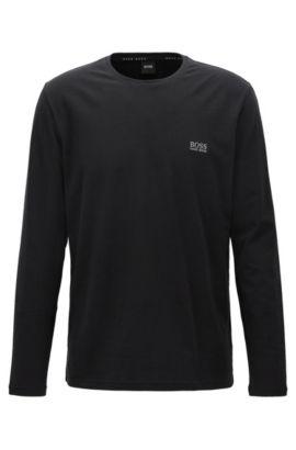 Regular-Fit Longsleeve aus elastischem Baumwoll-Jersey, Schwarz