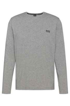 Long-sleeved T-shirt in stretch-cotton jersey, Grey