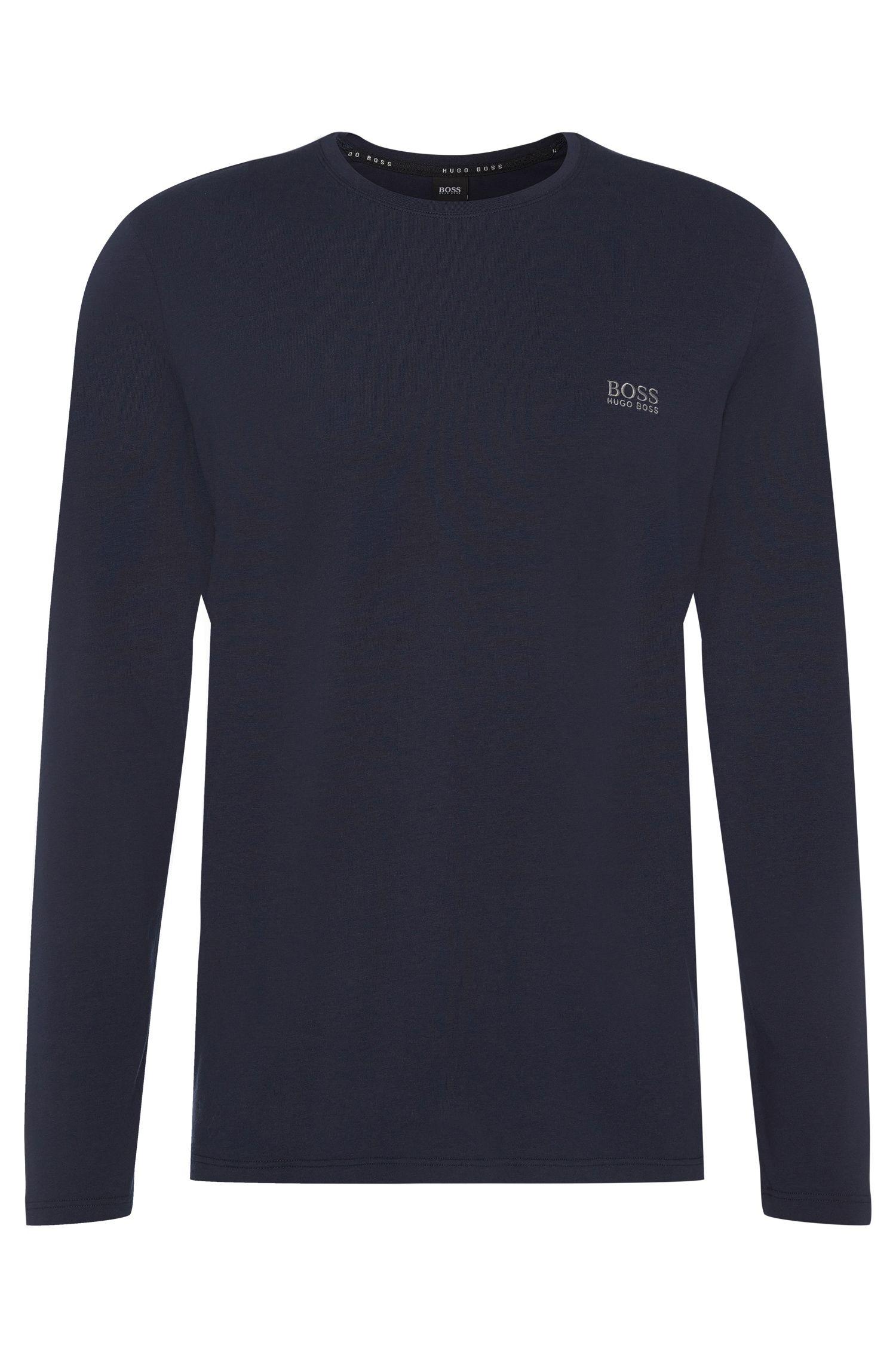 Maglia a maniche lunghe in jersey di cotone elasticizzato