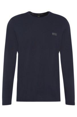 Maglia a maniche lunghe in jersey di cotone elasticizzato, Blu scuro