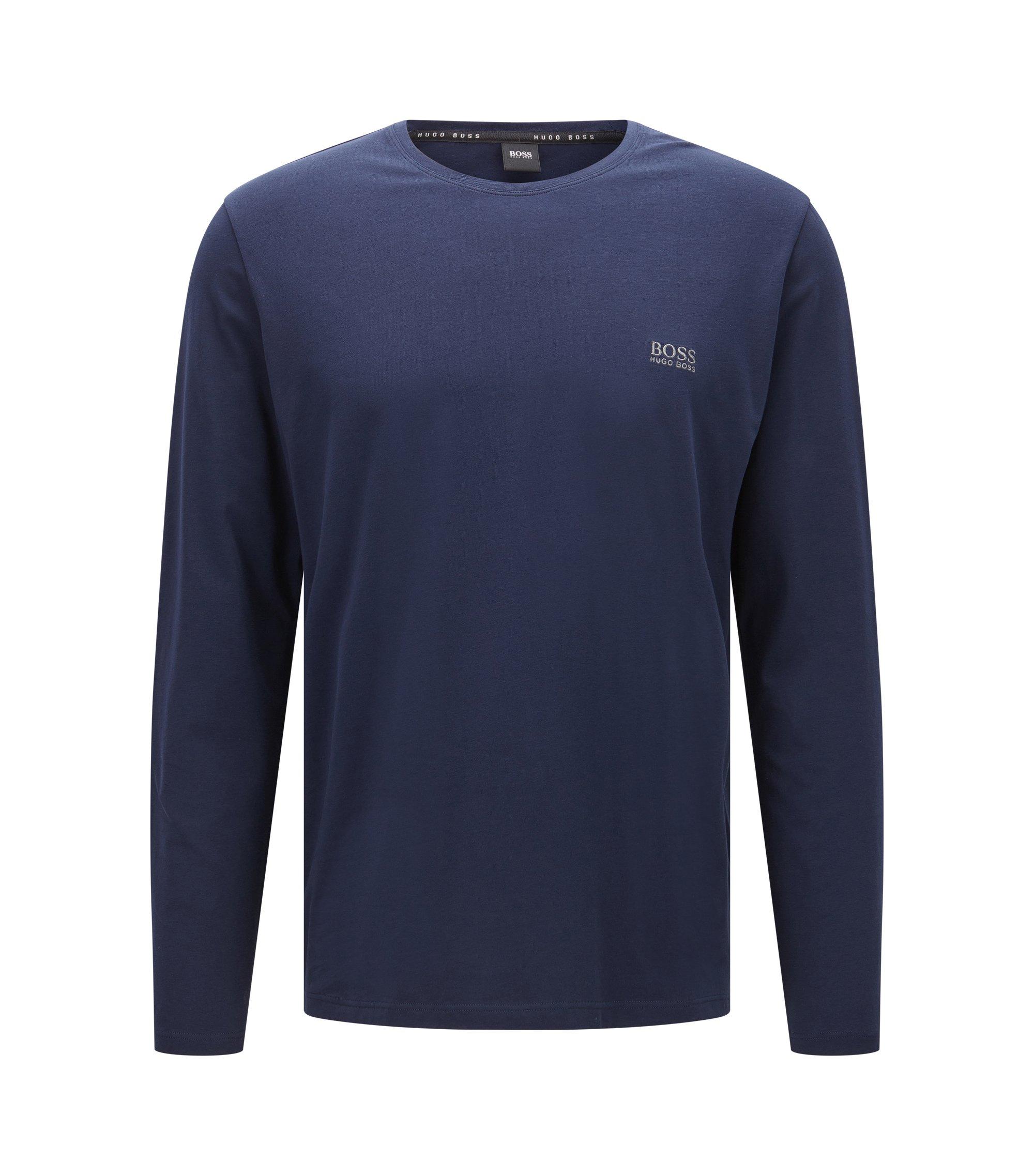 T-shirt van elastische katoenjersey met lange mouwen, Donkerblauw