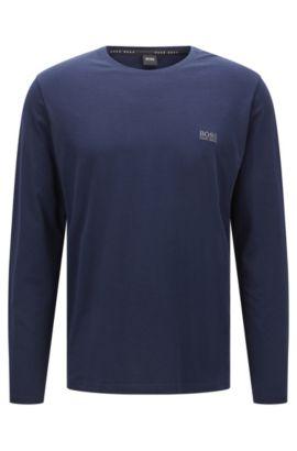 T-shirt à manches longues en jersey de coton stretch, Bleu foncé