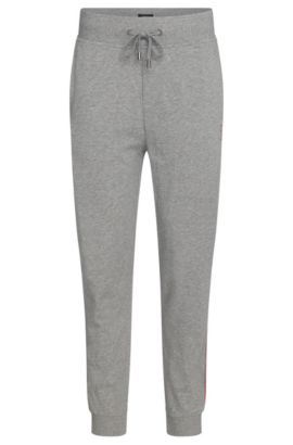 Cotton tracksuit bottoms with a drawstring: 'Long Pant Cuffs', Grey