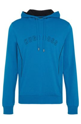 Sweat à capuche Regular Fit en coton : « Hooded Sweatshirt », Bleu