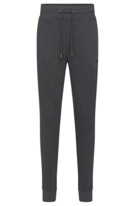 Mottled tracksuit bottoms in cotton with a drawstring waistband: 'Long Pant Cuffs', Grey