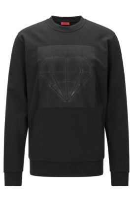 Loose-fit sweatshirt in cotton with printed front motif: 'Dardust', Black