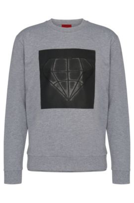 Loose-fit sweatshirt in cotton with printed front motif: 'Dardust', Grey