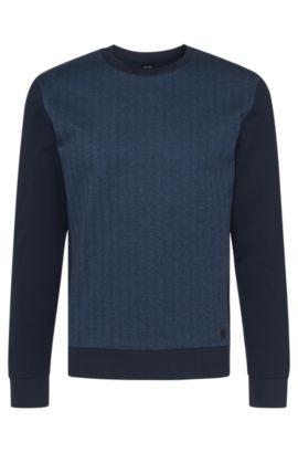 Sweat en coton à motif pied-de-poule: «Sweatshirt», Bleu foncé
