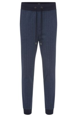 Regular-fit sweat trousers in cotton in herringbone design: 'Long Pant Cuffs', Dark Blue