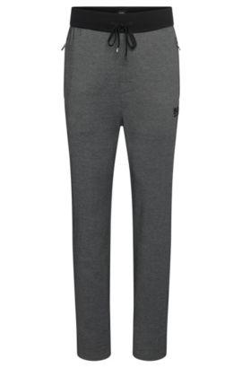 Pantalon molletonné en coton mélangé avec cordon de serrage: «Long Pant», Noir