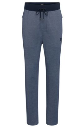 Tracksuit bottoms in cotton blend with a drawstring: 'Long Pant', Open Blue