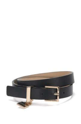 Leather bracelet with signature cufflink detail, Black