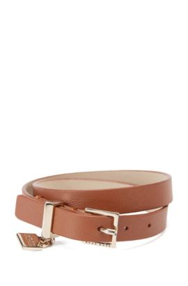 Leather bracelet with signature cufflink detail, Brown