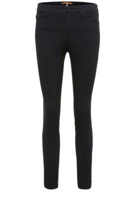 Pantalón slim fit en mezcla de algodón elástica con viscosa: 'Sobina1-D', Azul oscuro