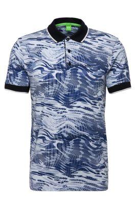 Polo Slim Fit en coton coton stretch à motif: «Paule5», Bleu foncé