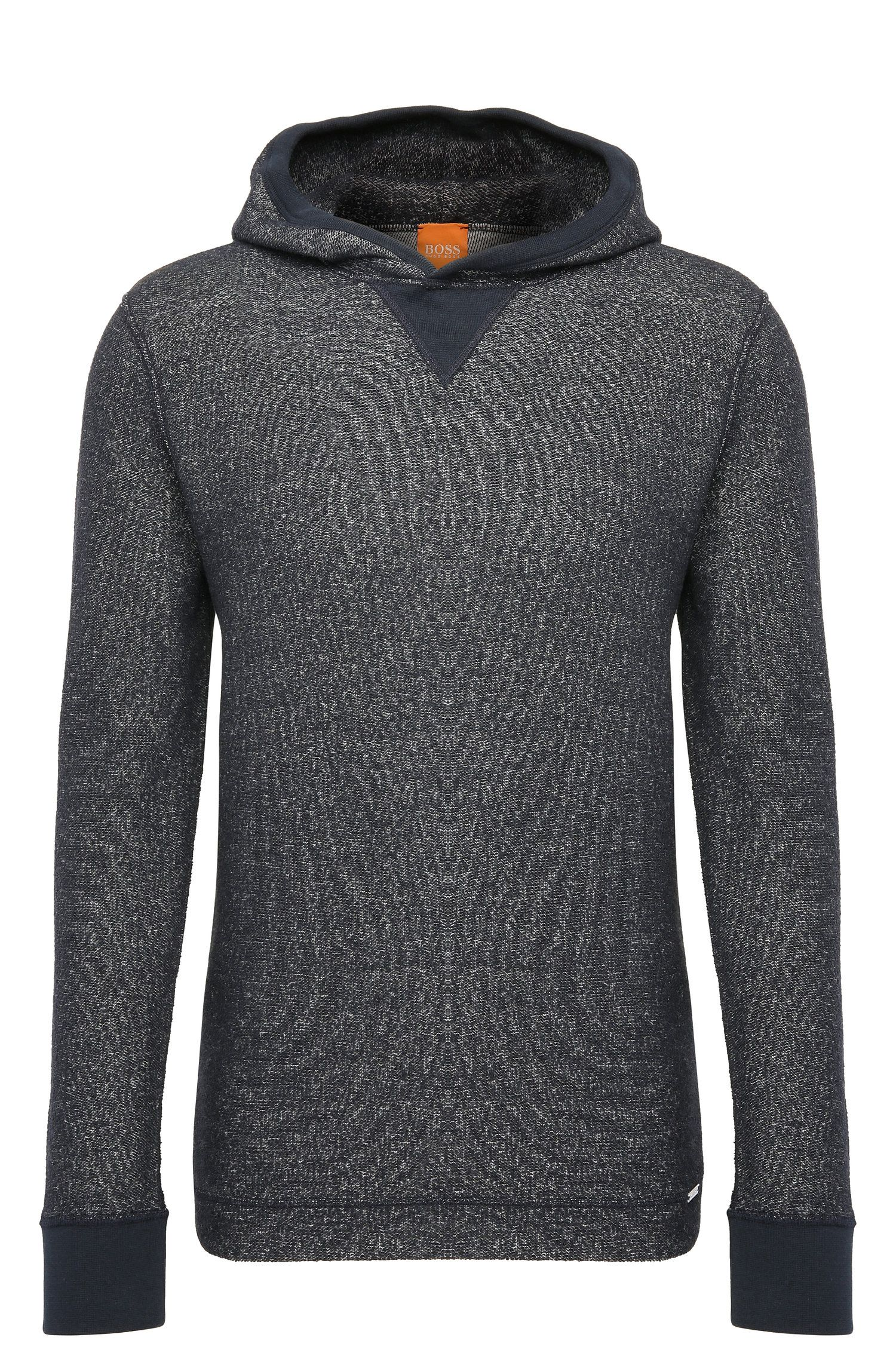 Regular-fit knitwear hoodie in cotton blend with wool: 'Wrapping'
