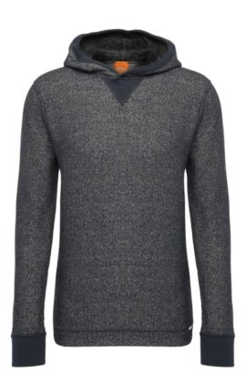 Regular-fit knitwear hoodie in cotton blend with wool: 'Wrapping', Dark Blue